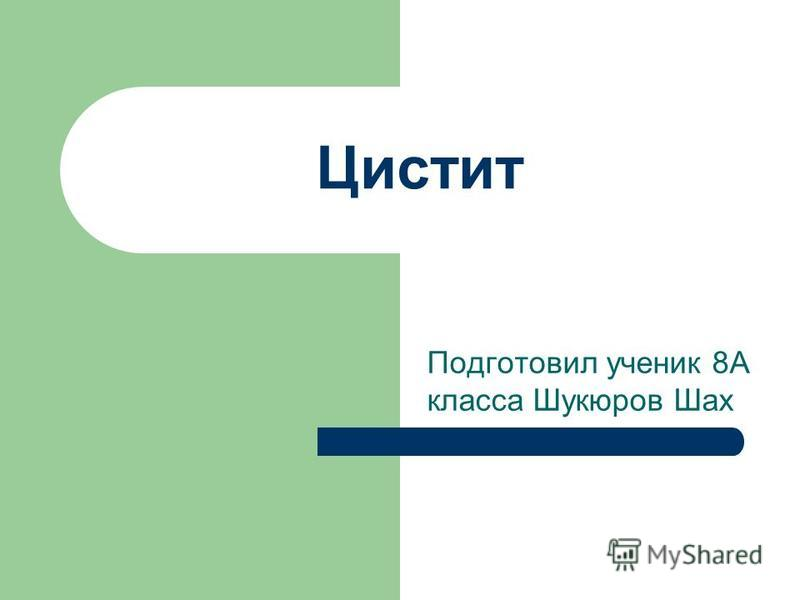 Цистит Подготовил ученик 8А класса Шукюров Шах