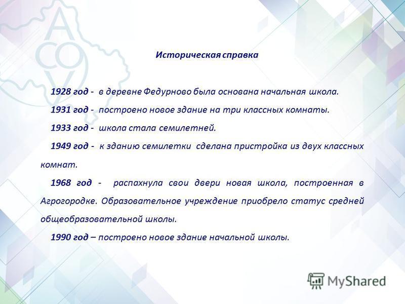 Историческая справка 1928 год - в деревне Федурново была основана начальная школа. 1931 год - построено новое здание на три классных комнаты. 1933 год - школа стала семилетней. 1949 год - к зданию семилетки сделана пристройка из двух классных комнат.