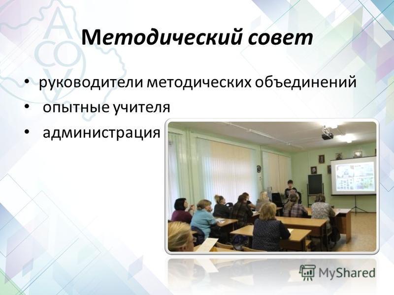 Методический совет руководители методических объединений опытные учителя администрация