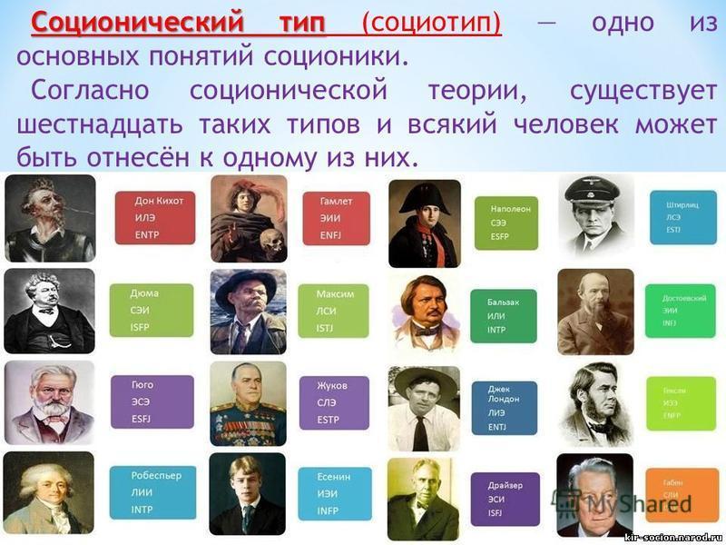 Соционический тип Соционический тип (социотип) одно из основных понятий соционики. Согласно соционической теории, существует шестнадцать таких типов и всякий человек может быть отнесён к одному из них.