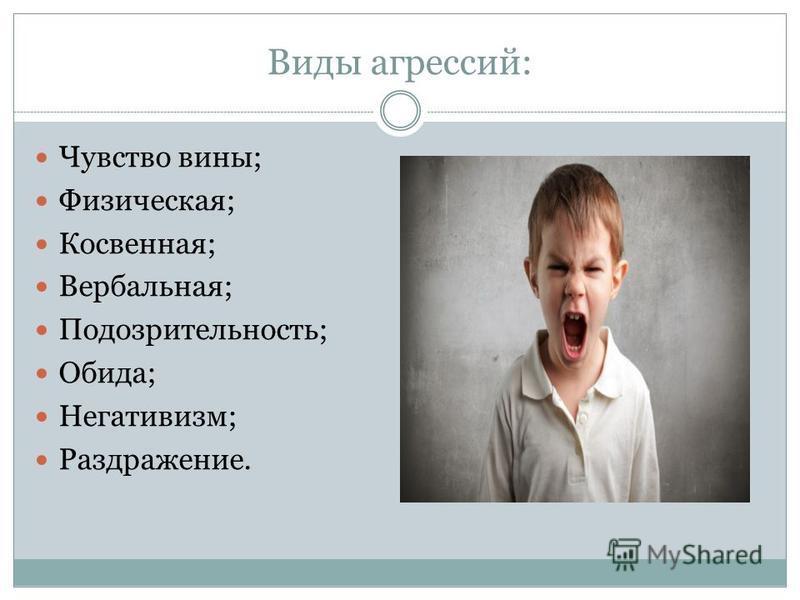 Виды агрессий: Чувство вины; Физическая; Косвенная; Вербальная; Подозрительность; Обида; Негативизм; Раздражение.