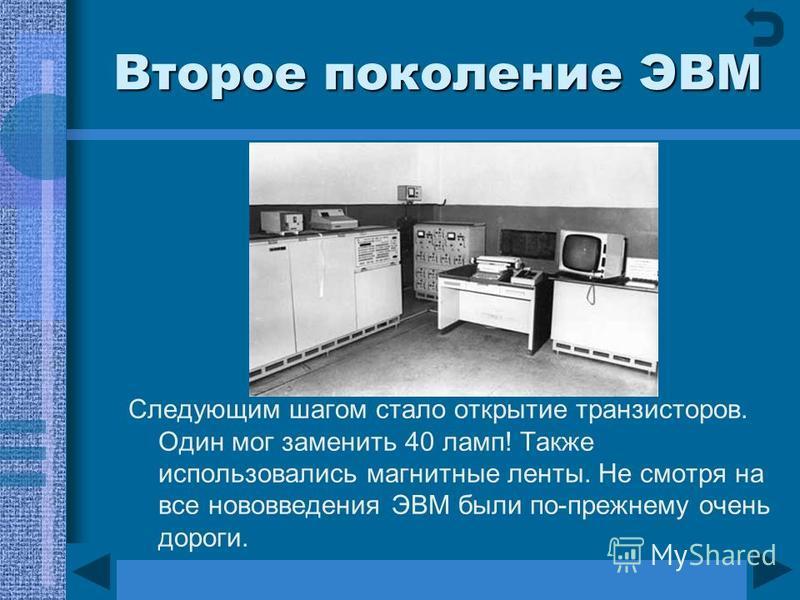 Второе поколение ЭВМ Следующим шагом стало открытие транзисторов. Один мог заменить 40 ламп! Также использовались магнитные ленты. Не смотря на все нововведения ЭВМ были по-прежнему очень дороги.
