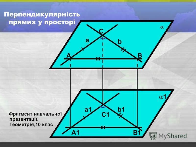 Перпендикулярність прямих у просторі Фрагмент навчальної презентації. Геометрія,10 клас а b А С В а1а1b1b1 А1А1 С1С1 В1В1 1