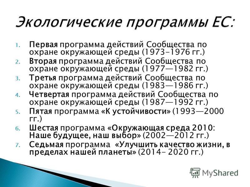 1. Первая программа действий Сообщества по охране окружающей среды (1973-1976 гг.) 2. Вторая программа действий Сообщества по охране окружающей среды (19771982 гг.) 3. Третья программа действий Сообщества по охране окружающей среды (19831986 гг.) 4.