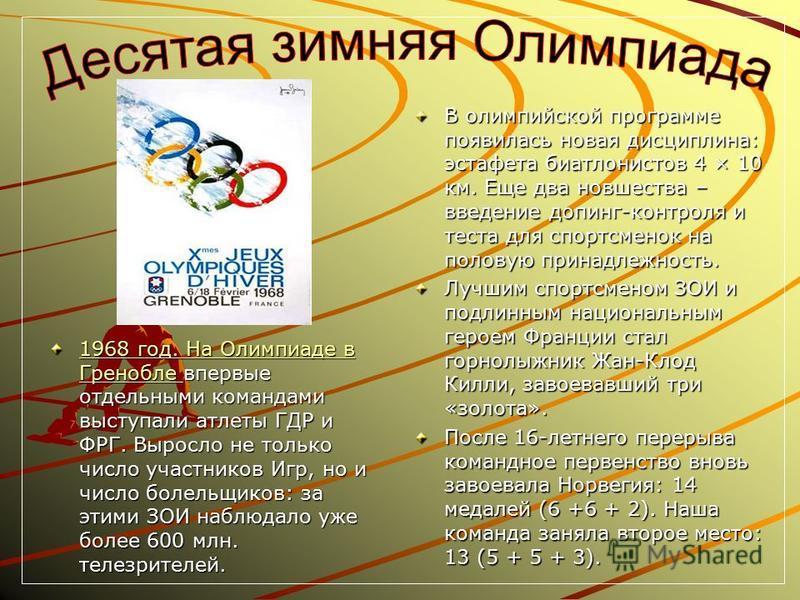 1968 год. На Олимпиаде в Гренобле 1968 год. На Олимпиаде в Гренобле впервые отдельными командами выступали атлеты ГДР и ФРГ. Выросло не только число участников Игр, но и число болельщиков: за этими ЗОИ наблюдало уже более 600 млн. телезрителей. 1968