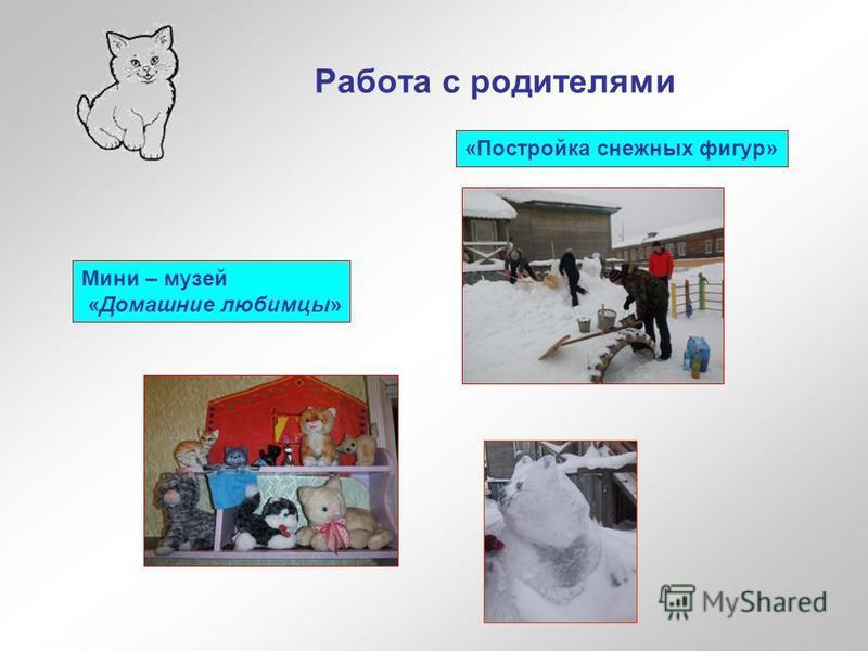 Работа с родителями Мини – музей «Домашние любимцы» «Постройка снежных фигур»