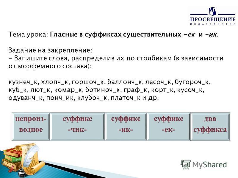 Тема урока: Гласные в суффиксах существительных -ек и –ик. Задание на закрепление: - Запишите слова, распределив их по столбикам (в зависимости от морфемного состава): кузнец_к, хлоп ч_к, горшок_к, баллонч_к, лесов_к, бугорок_к, куб_к, лют_к, комар_к