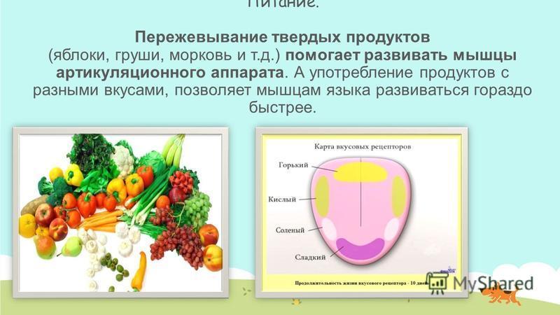 Питание. Пережевывание твердых продуктов (яблоки, груши, морковь и т.д.) помогает развивать мышцы артикуляционного аппарата. А употребление продуктов с разными вкусами, позволяет мышцам языка развиваться гораздо быстрее.