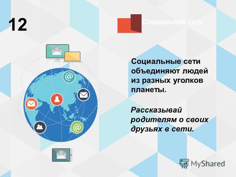 Социальная сеть 12 Социальные сети объединяют людей из разных уголков планеты. Рассказывай родителям о своих друзьях в сети.