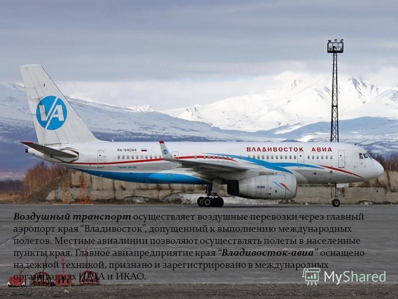 Воздушный транспорт осуществляет воздушные перевозки через главный аэропорт края Владивосток, допущенный к выполнению международных полетов. Местные авиалинии позволяют осуществлять полеты в населенные пункты края. Главное авиапредприятие края Владив