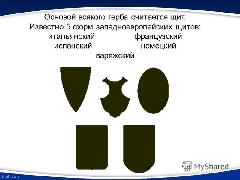 Основой всякого герба считается щит. Известно 5 форм западноевропейских щитов: итальянский французский испанский немецкий варяжский