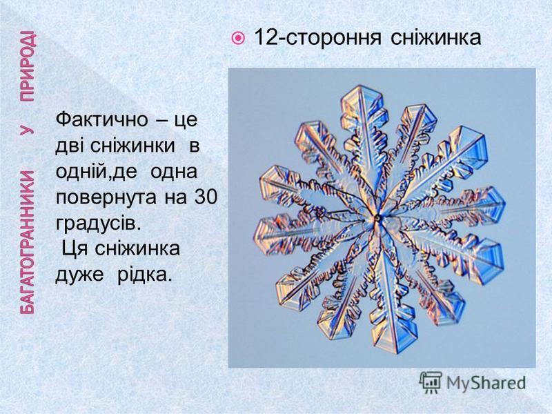 Фактично – це дві сніжинки в одній,де одна повернута на 30 градусів. Ця сніжинка дуже рідка. 12-стороння сніжинка