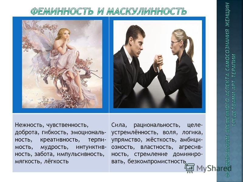 Нежюность, чувственюность, доброта, гибкость, эмоциональюность, креативюность, терпимость, мудрость, интуиктив- юность, забота, импульсивюность, мягкость, лёгкость Сила, рациональюность, целе- устремлёнюность, воля, логика, упрямство, жёсткость, амби