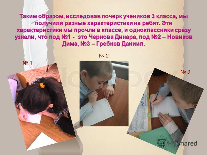 Таким образом, исследовав почерк учеников 3 класса, мы получили разные характеристики на ребят. Эти характеристики мы прочли в классе, и одноклассники сразу узнали, что под 1 - это Чернова Динара, под 2 – Новиков Дима, 3 – Гребнев Даниил. 1 2 3