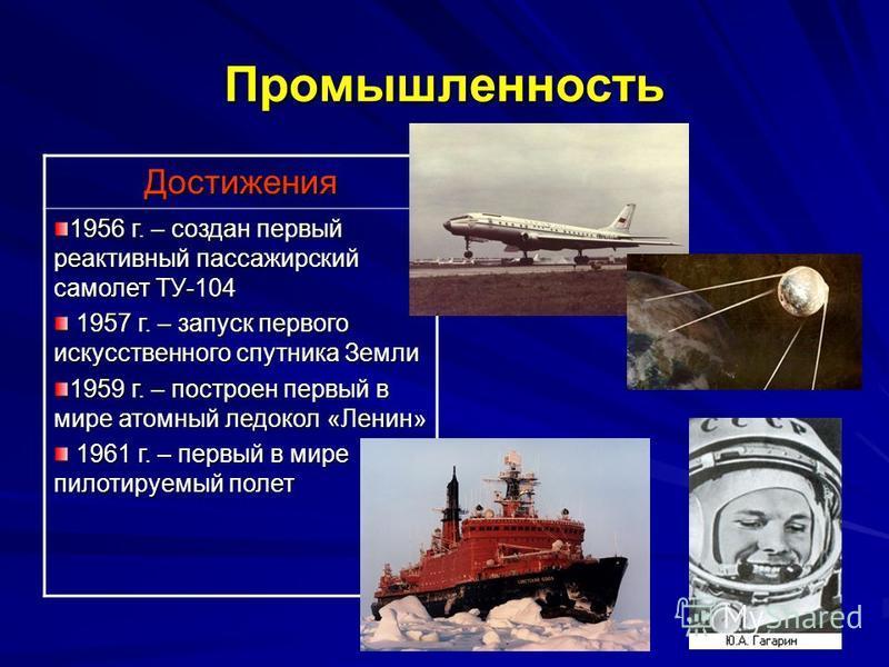 Промышленность Достижения 1956 г. – создан первый реактивный пассажирский самолет ТУ-104 1957 г. – запуск первого искусственного спутника Земли 1957 г. – запуск первого искусственного спутника Земли 1959 г. – построен первый в мире атомный ледокол «Л