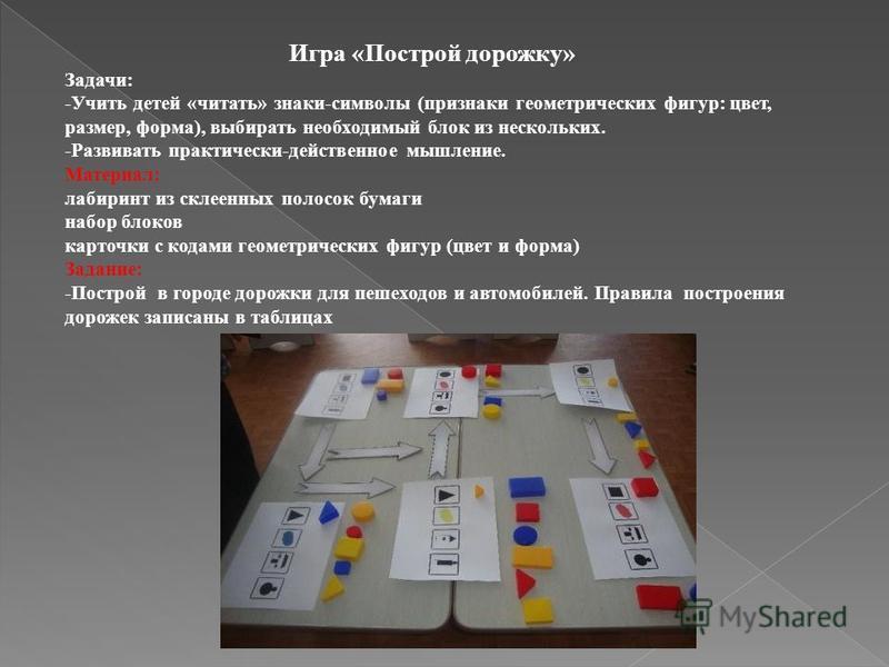 Игра «Построй дорожку» Задачи: -Учить детей «читать» знаки-символы (признаки геометрических фигур: цвет, размер, форма), выбирать необходимый блок из нескольких. -Развивать практически-действенное мышление. Материал: лабиринт из склеенных полосок бум