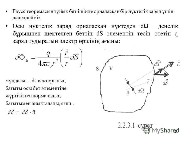 Гаусс теоремасын тұйық бет ішінде орналасқан бір нүктелік заряд үшін дәлелдейміз. Осы нүктелік заряд орналасқан нүктеден d денелік бұрышпен шектелген беттің dS элементін тесіп өтетін q заряд тудыратын электр өрісінің ағыны: мұндағы - ds векторының ба