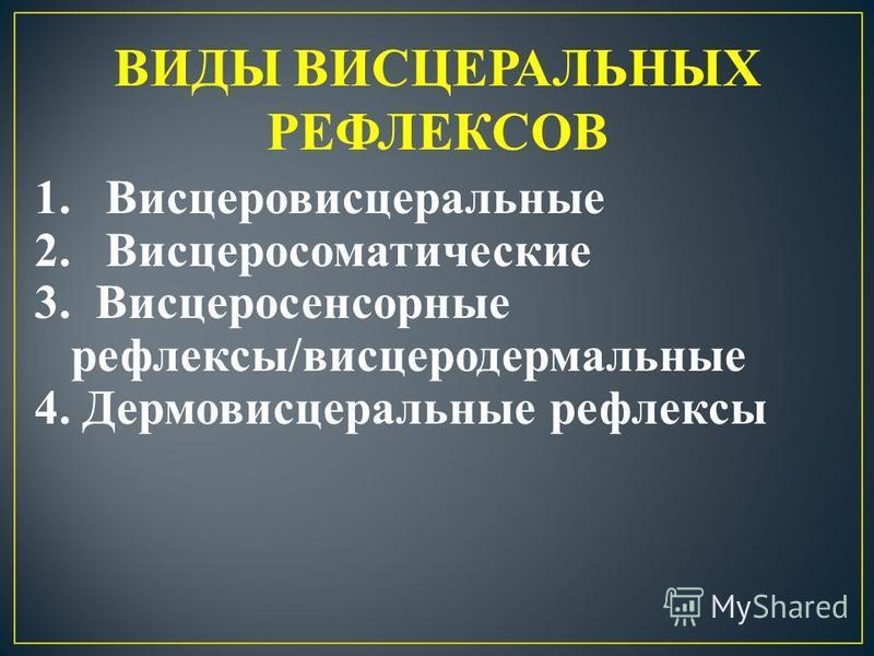 ВИДЫ ВИСЦЕРАЛЬНЫХ РЕФЛЕКСОВ 1. Висцеровисцеральные 2. Висцеросоматические 3. Висцеросенсорные рефлексы/висцеродермальные 4. Дермовисцеральные рефлексы