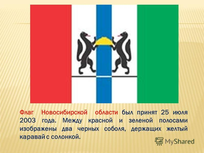 Флаг Новосибирской области был принят 25 июля 2003 года. Между красной и зеленой полосами изображены два черных соболя, держащих желтый каравай с солонкой.