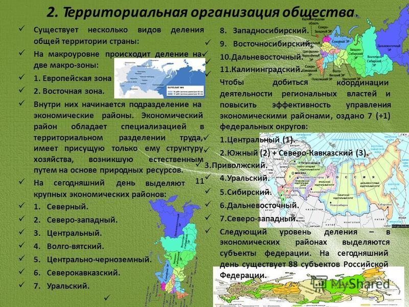 2. Территориальная организация общества. Существуетнескольковидовделения общей территории страны: На макроуровне происходит деление на две макро-зоны: 1. Европейская зона 2. Восточная зона. Внутри них начинается подразделение на экономические районы.