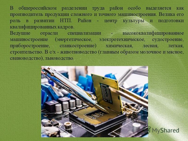 В общероссийском разделении труда район особо выделяется как производитель продукции сложного и точного машиностроения. Велика его роль в развитии НТП. Район - центр культуры и подготовки квалифицированных кадров. Ведущие отрасли специализации - высо