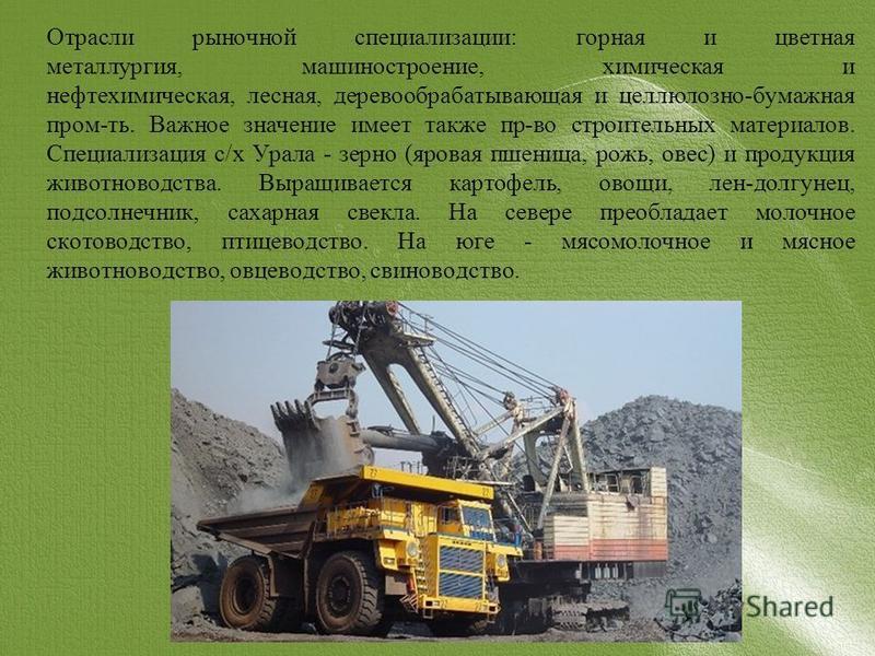 Отрасли рыночной специализации: горная и цветная металлургия, машиностроение, химическая и нефтехимическая, лесная, деревообрабатывающая и целлюлозно-бумажная пром-ть. Важное значение имеет также пр-во строительных материалов. Специализация с/х Урала