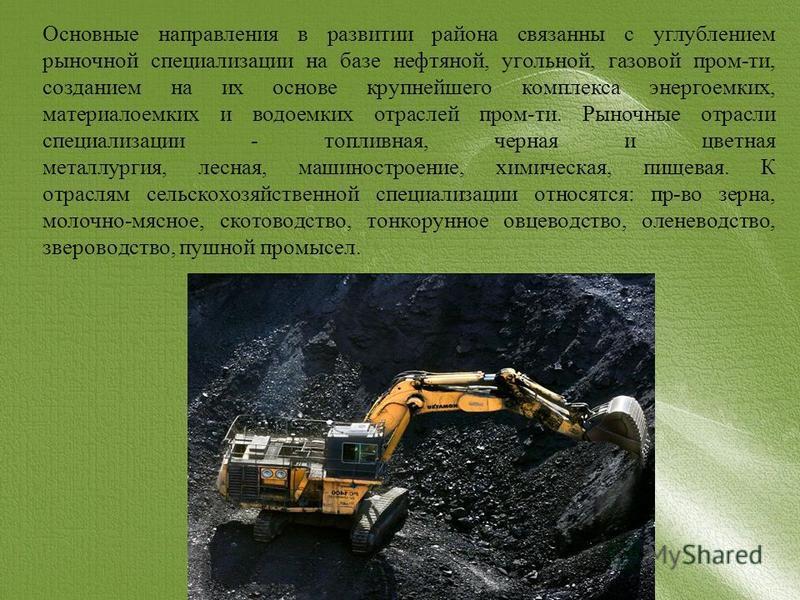 Основные направления в развитии района связанны с углублением рыночной специализации на базе нефтяной, угольной, газовой пром-ти, созданием на их основе крупнейшего комплекса энергоемких, материалоемких и водоемких отраслей пром-ти. Рыночные отрасли