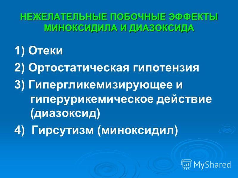 НЕЖЕЛАТЕЛЬНЫЕ ПОБОЧНЫЕ ЭФФЕКТЫ МИНОКСИДИЛА И ДИАЗОКСИДА 1) Отеки 2) Ортостатическая гипотензия 3) Гипергликемизирующее и гиперурикемическое действие (диазоксид) 4) Гирсутизм (миноксидил)