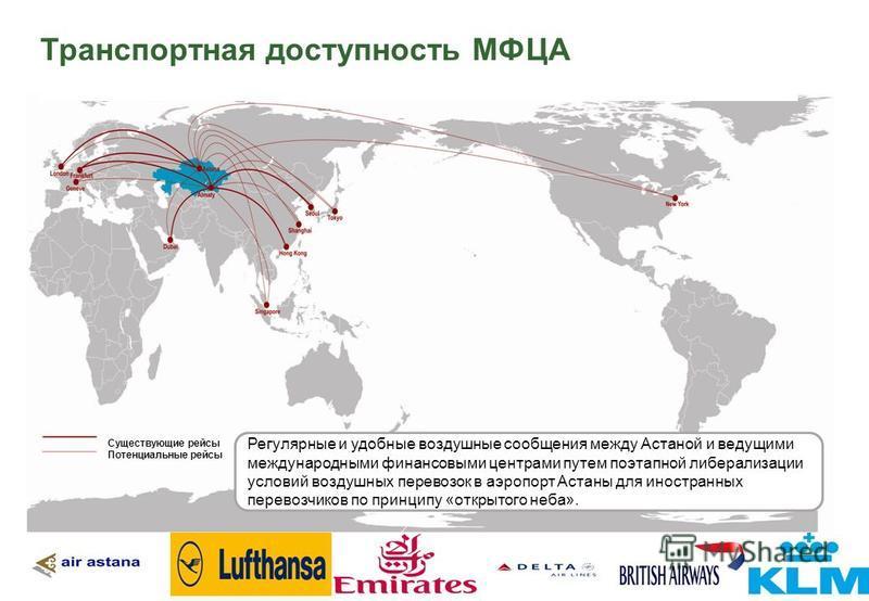 Транспортная доступность МФЦА Существующие рейсы Потенциальные рейсы Регулярные и удобные воздушные сообщения между Астаной и ведущими международными финансовыми центрами путем поэтапной либерализации условий воздушных перевозок в аэропорт Астаны для