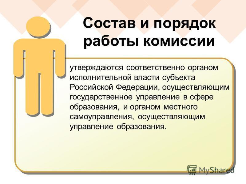 утверждаются соответственно органом исполнительной власти субъекта Российской Федерации, осуществляющим государственное управление в сфере образования, и органом местного самоуправления, осуществляющим управление образования. Состав и порядок работы