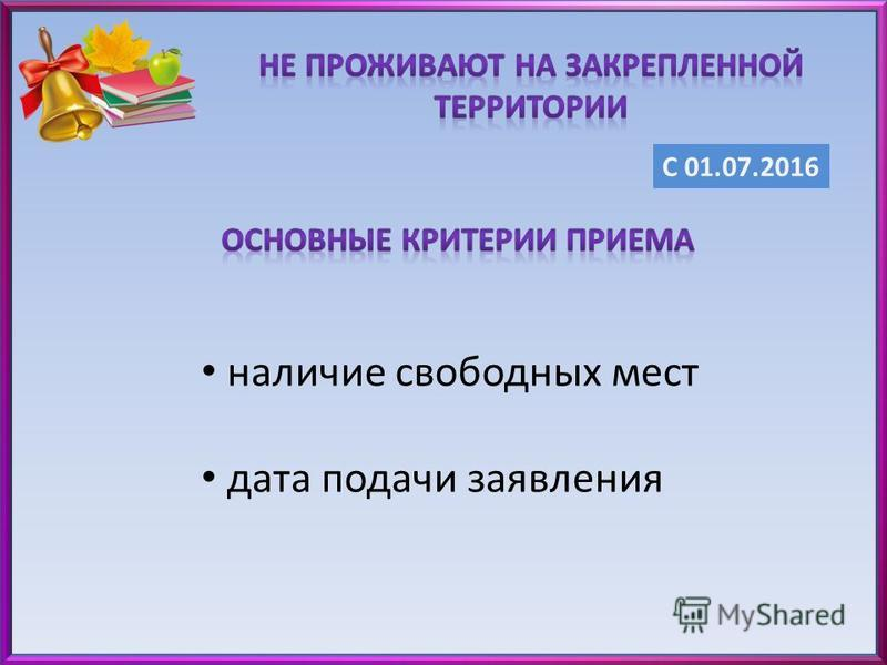 С 01.07.2016 наличие свободных мест дата подачи заявления