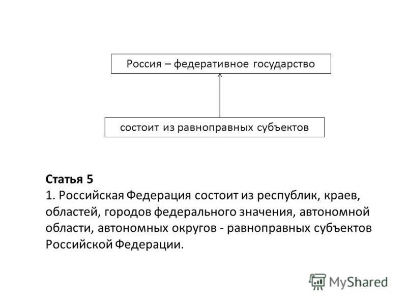 Россия – федеративное государство состоит из равноправных субъектов Статья 5 1. Российская Федерация состоит из республик, краев, областей, городов федерального значения, автономной области, автономных округов - равноправных субъектов Российской Феде