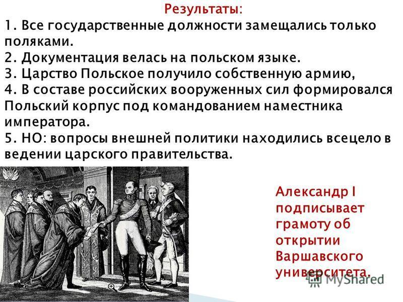 Результаты: 1. Все государственные должности замещались только поляками. 2. Документация велась на польском языке. 3. Царство Польское получило собственную армию, 4. В составе российских вооруженных сил формировался Польский корпус под командованием