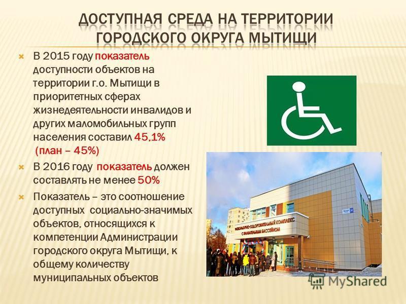 В 2015 году показатель доступности объектов на территории г.о. Мытищи в приоритетных сферах жизнедеятельности инвалидов и других маломобильных групп населения составил 45,1% (план – 45%) В 2016 году показатель должен составлять не менее 50% Показател