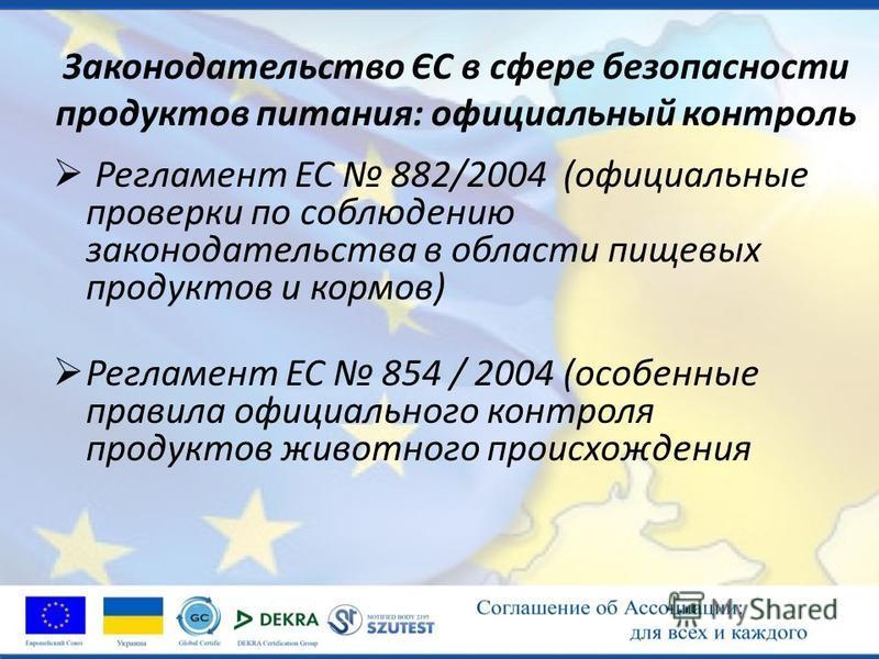 Законодательство ЄС в сфере безопасности продуктов питания: официальный контроль Регламент ЕС 882/2004 (официальные проверки по соблюдению законодательства в области пищевых продуктов и кормов) Регламент ЕС 854 / 2004 (особенные правила официального
