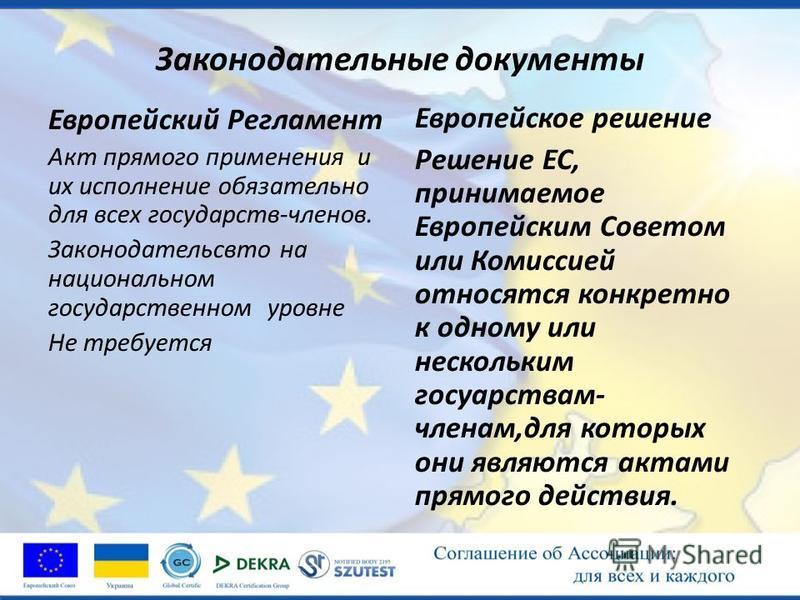 Законодательные документы Европейский Регламент Акт прямого применения и их исполнение обязательно для всех государств-членов. Законодательсвто на национальном государственном уровне Не требуется Европейское решение Решение ЕС, принимаемое Европейски