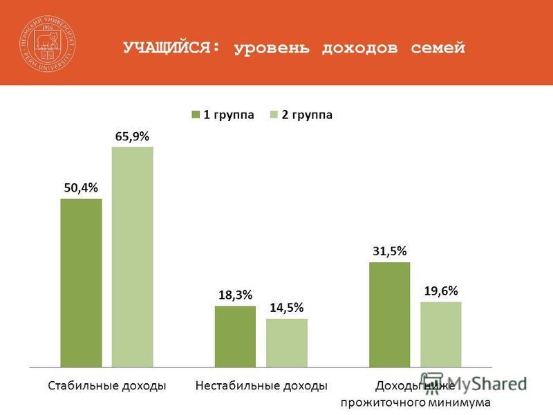УЧАЩИЙСЯ: уровень доходов семей