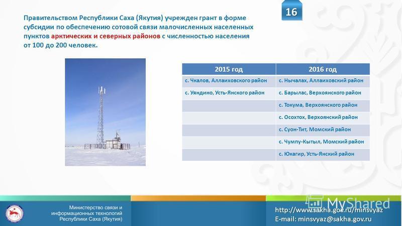 16 http://www.sakha.gov.ru/minsvyazE-mail: minsvyaz@sakha.gov.ru Правительством Республики Саха (Якутия) учрежден грант в форме субсидии по обеспечению сотовой связи малочисленных населенных пунктов арктических и северных районов с численностью насел