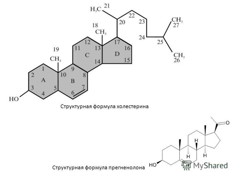 Структурная формула холестерина Структурная формула прегненолона