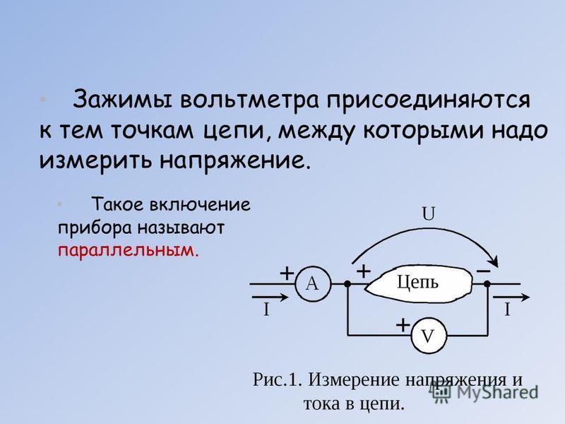 Такое включение прибора называют параллельным. Зажимы вольтметра присоединяются к тем точкам цепи, между которыми надо измерить напряжение.