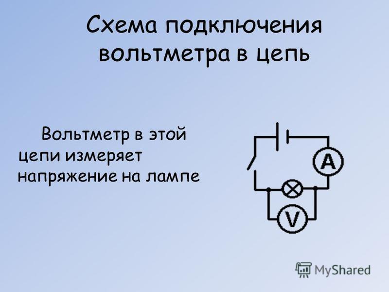 Схема подключения вольтметра в цепь Вольтметр в этой цепи измеряет напряжение на лампе