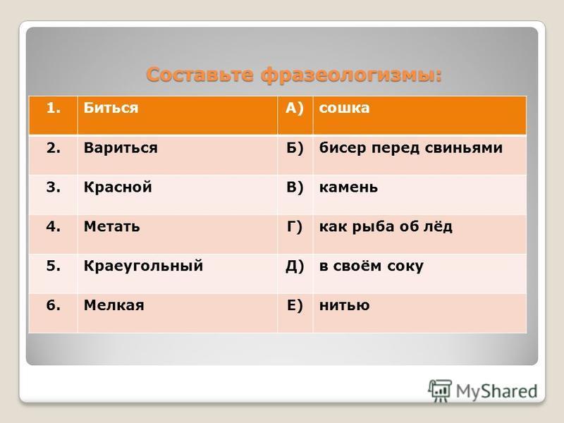 Составьте фразеологизмы: 1.БитьсяА)сошка 2.ВаритьсяБ)бисер перед свиньями 3.КраснойВ)камень 4.МетатьГ)как рыба об лёд 5.КраеугольныйД)в своём соку 6.МелкаяЕ)нитью