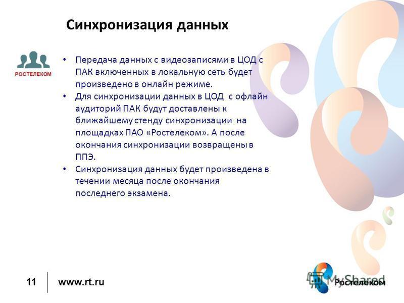 www.rt.ru 11 Синхронизация данных Передача данных с видеозаписями в ЦОД с ПАК включенных в локальную сеть будет произведено в онлайн режиме. Для синхронизации данных в ЦОД с офлайн аудиторий ПАК будут доставлены к ближайшему стенду синхронизации на п