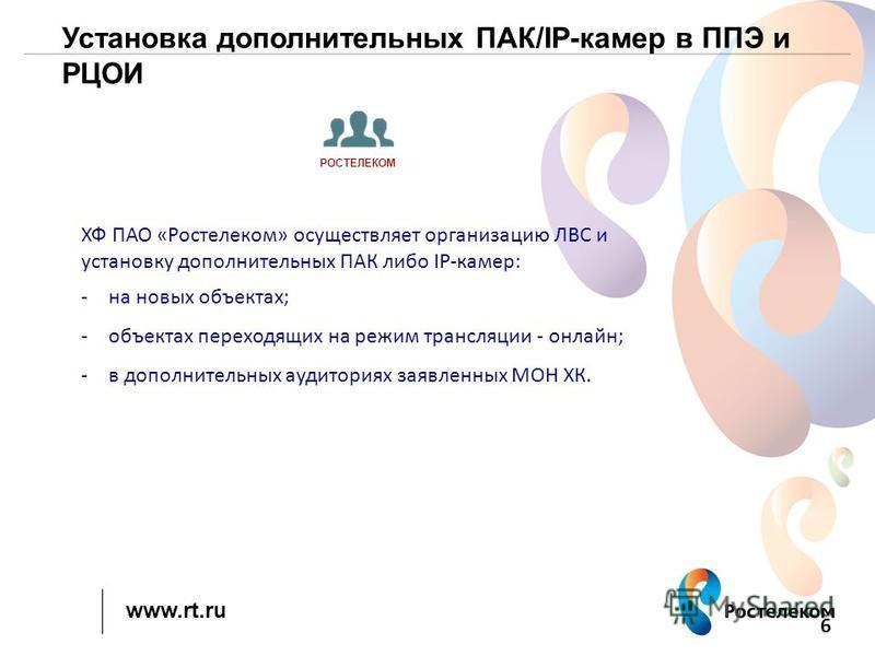 www.rt.ru Установка дополнительных ПАК/IP-камер в ППЭ и РЦОИ 6 ХФ ПАО «Ростелеком» осуществляет организацию ЛВС и установку дополнительных ПАК либо IP-камер: -на новых объектах; -объектах переходящих на режим трансляции - онлайн; -в дополнительных ау