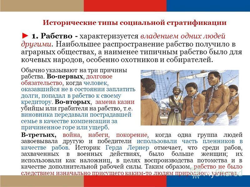 Исторические типы социальной стратификации 1. Рабство - характеризуется владением одних людей другими. Наибольшее распространение рабство получило в аграрных обществах, а наименее типичным рабство было для кочевых народов, особенно охотников и собира