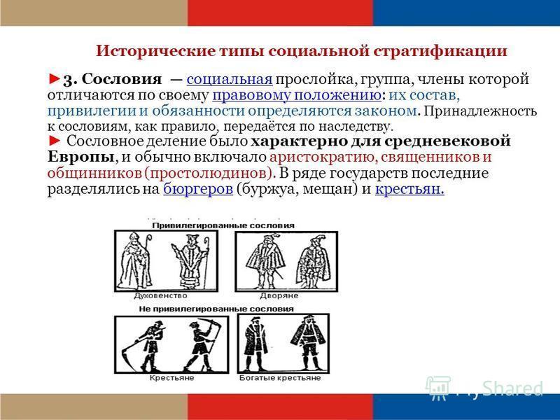 Исторические типы социальной стратификации 3. Сословия социальная прослойка, группа, члены которой отличаются по своему правовому положению: их состав, привилегии и обязанности определяются законом. Принадлежность к сословиям, как правило, передаётся
