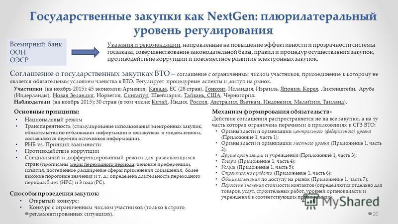 20 Государственные закупки как NextGen: плюрилатеральный уровень регулирования Всемирный банк ООН ОЭСР Указания и рекомендации, направленные на повышение эффективности и прозрачности системы госзаказа, совершенствование законодательной базы, правил и