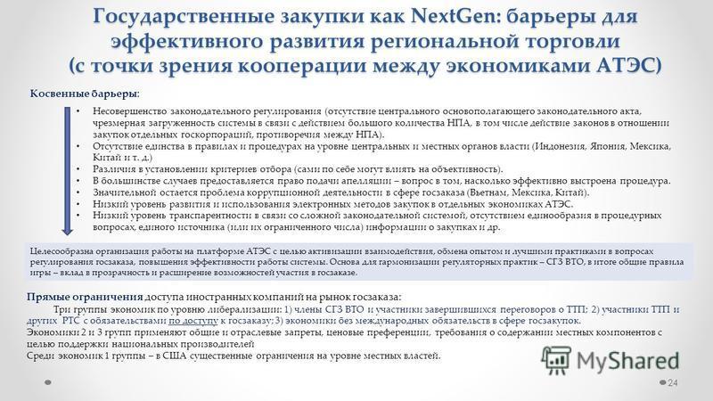 24 Государственные закупки как NextGen: барьеры для эффективного развития региональной торговли (с точки зрения кооперации между экономиками АТЭС) Несовершенство законодательного регулирования (отсутствие центрального основополагающего законодательно