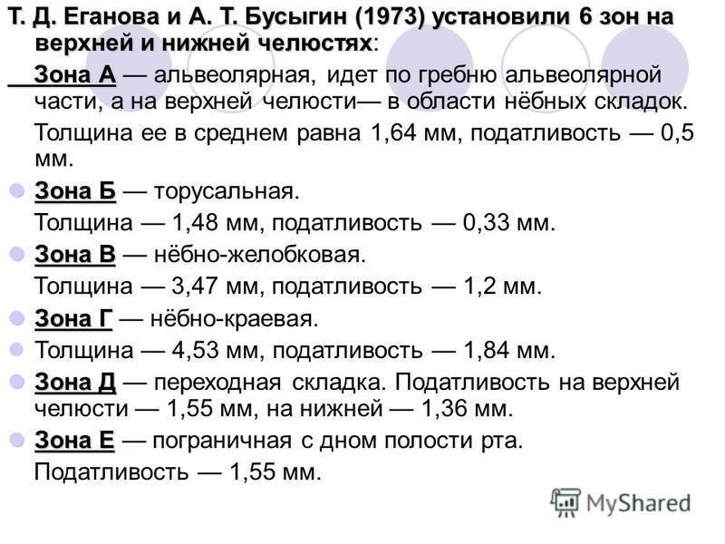 Т. Д. Еганова и А. Т. Бусыгин (1973) установили 6 зон на верхней и нижней челюстях Т. Д. Еганова и А. Т. Бусыгин (1973) установили 6 зон на верхней и нижней челюстях: Зона А Зона А альвеолярная, идет по гребню альвеолярной части, а на верхней челюс