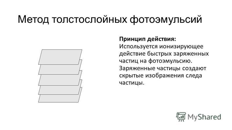 Метод толстослойных фотоэмульсий Принцип действия: Используется ионизирующее действие быстрых заряженных частиц на фотоэмульсию. Заряженные частицы создают скрытые изображения следа частицы.